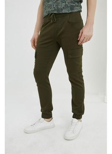 Z Giyim Beli ve Paçası Lastikli Kargo Cep Keten Pantolon Haki